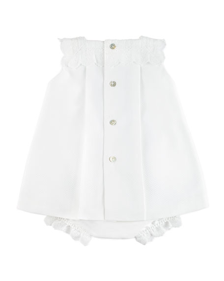 Scallop Pique Dress w/ Bloomers, White, Size 3-18 Months