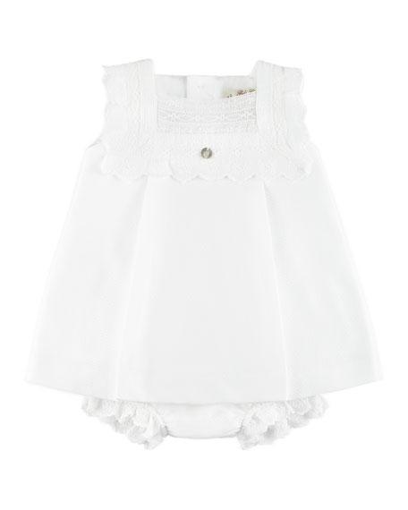 Pili Carrera Scallop Pique Dress w/ Bloomers, White,