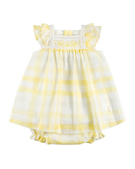 Gingham Ruffle-Sleeve Dress w/ Bloomers, Yellow, Size 12M-3Y