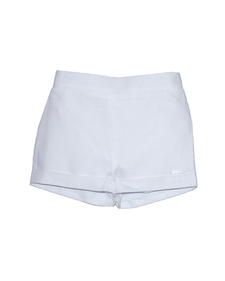 Pili Carrera Pull-Up Linen Shorts, White, Size 12M-3T