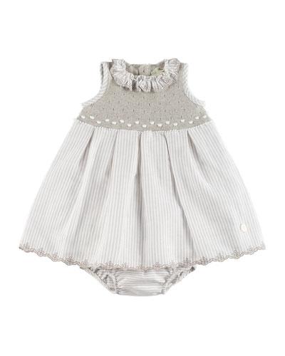 Stripe & Knit Dress w/ Bloomers, Beige, Size 3M-2Y