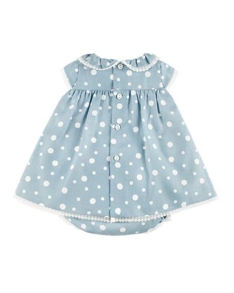Polka-Dot Lace-Trim Dress w/ Ruffle Bloomers, Blue, Size 3-18 Months
