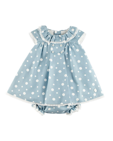 Pili Carrera Polka-Dot Lace-Trim Dress w/ Ruffle Bloomers,
