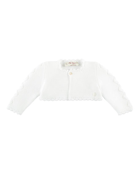 Pili Carrera Short Cotton Knit Ruffle Cardigan, White,