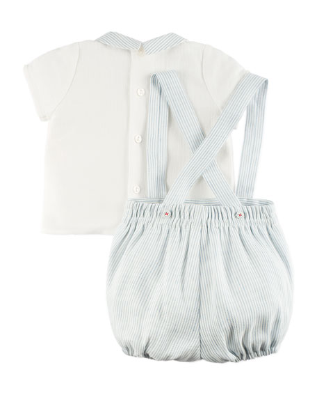 Pintucked Pointed-Collar Blouse w/ Button-On Overall Shorts, Blue, Size 3M-2Y