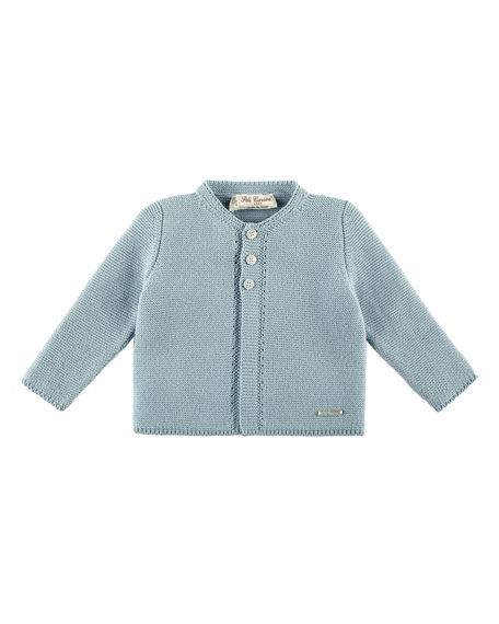 Knit Cotton Cardigan, Blue, Size 3M-2Y