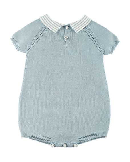 Stripe-Collar Knit Duck Playsuit, Blue, Size 1-12 Months