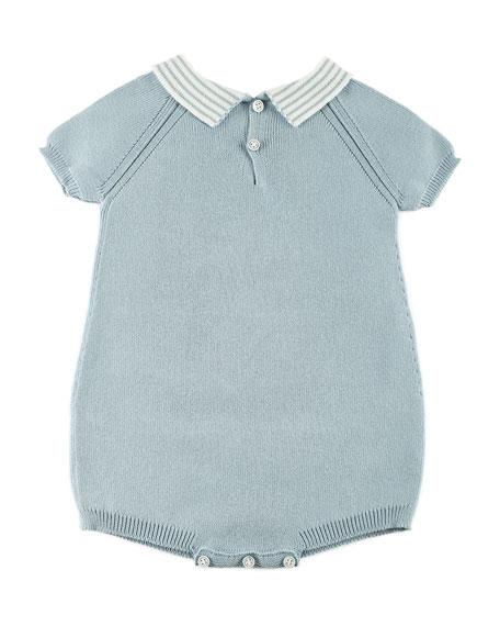 Stripe-Collar Knit Duck Playsuit, Blue, Size 1-12 Months
