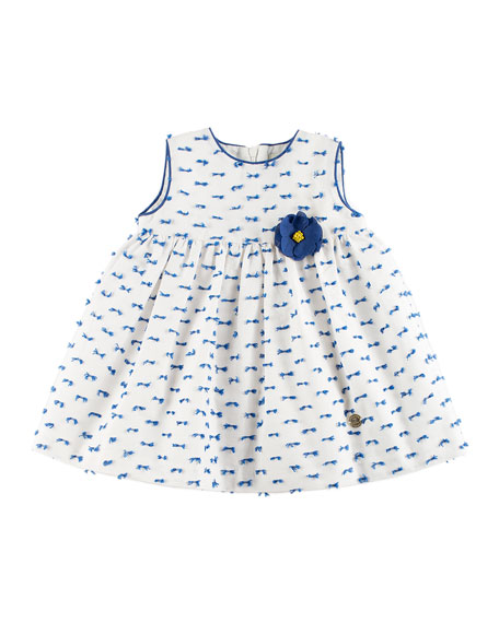 Pili Carrera Patterned Dress w/ Bloomers, White, Size