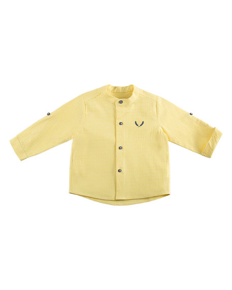 Pili Carrera Check Mandarin-Collar Shirt, Yellow, Size 12M-3Y