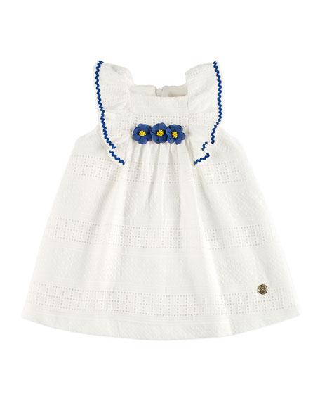 Pili Carrera Eyelet Dress w/ Flower Trim, White,