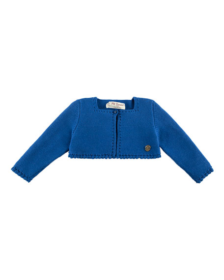 Short Cotton Knit Cardigan, Blue, Size 12M-3Y