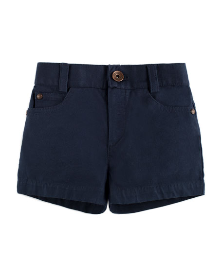 Pili Carrera Cotton-Stretch Shorts, Blue, Size 12M-3Y