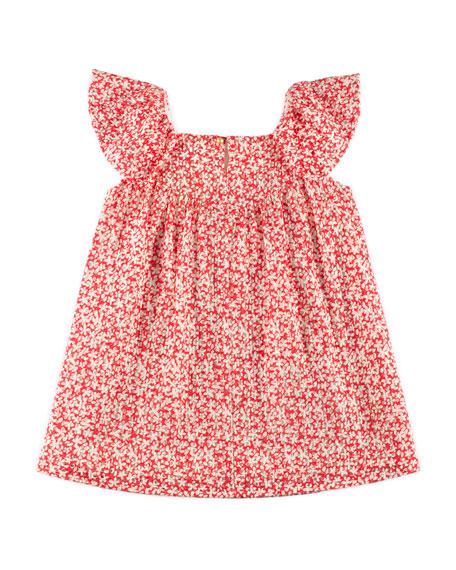Speckled-Print Eyelet Dress, Red, Size 4-10
