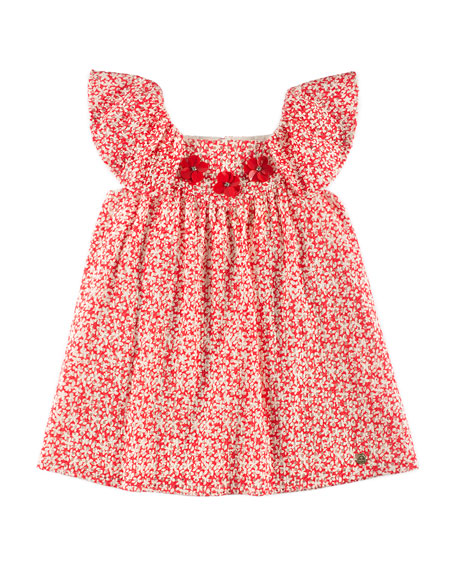 Speckled-Print Eyelet Dress, Red, Size 4-10