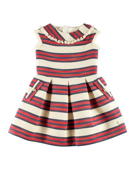 Sleeveless Stripe Dress w/ Tassel Trim, Red, Size 4-10