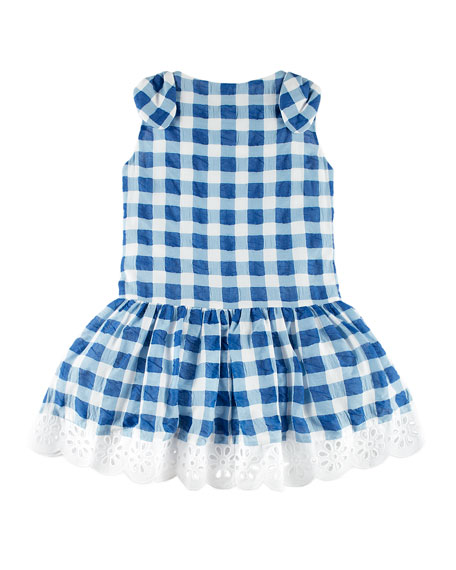 Pili Carrera Gingham Dress w/ Flower Hem, Blue,