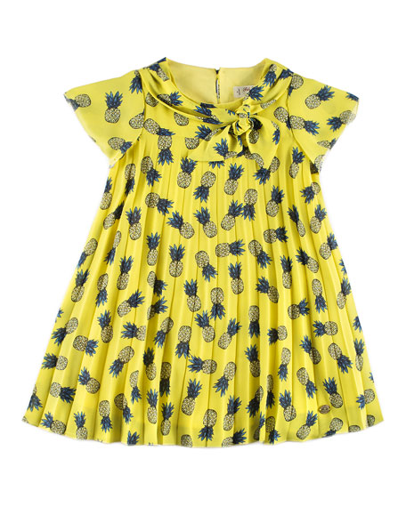 Pili Carrera Pineapple Pleated Dress, Yellow, Size 4-10