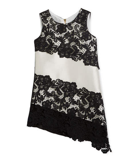 Zoe Sleeveless Sheath Lace Asymmetric Dress, Black/White, Size