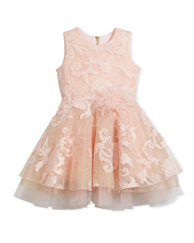 Embellished Tulle Swing Dress, Pink, Size 2-6X