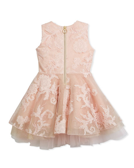 Embellished Tulle Swing Dress, Pink, Size 7-16