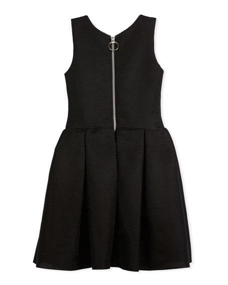 Box-Pleat Sleeveless Dress w/ Ballet Lace-Up Front, Black/Pink, Size 7-16