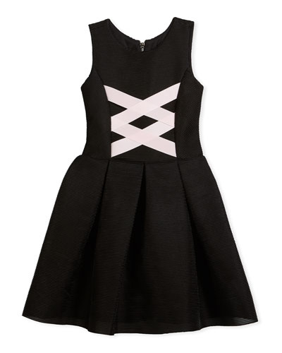 Box-Pleat Sleeveless Dress w/ Ballet Lace-Up Front, Black/Pink, Size 7-16