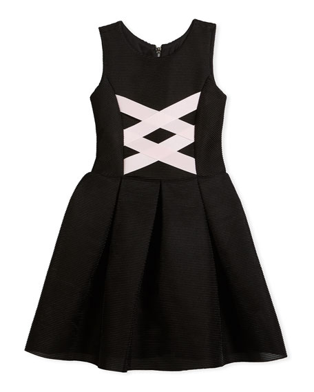Zoe Box-Pleat Sleeveless Dress w/ Ballet Lace-Up Front,
