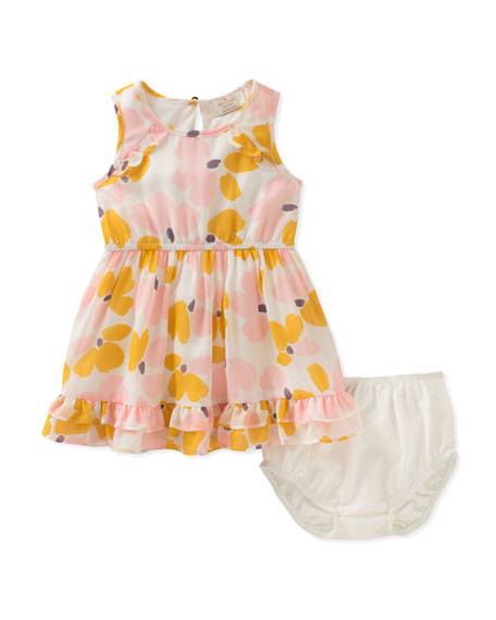 kate spade new york floral ruffle-hem dress w/