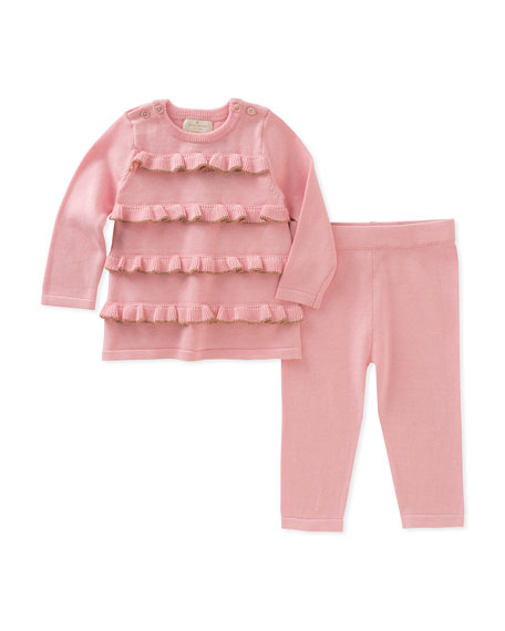 ruffle-front sweater w/ matching leggings, pink, size 3-9 months