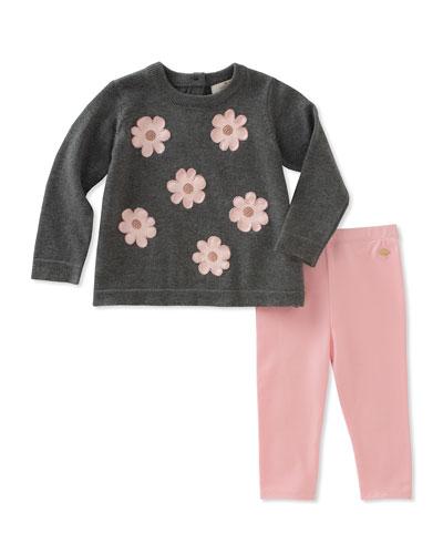 swing flower applique sweater w/ leggings, size 12-24 months