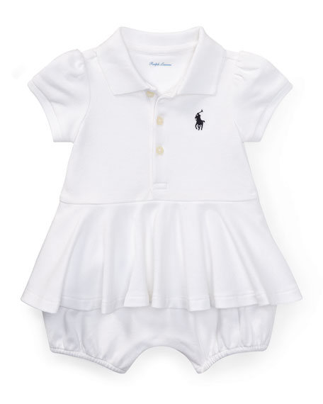 Ralph Lauren Childrenswear Mesh Peplum Polo Play Dress,
