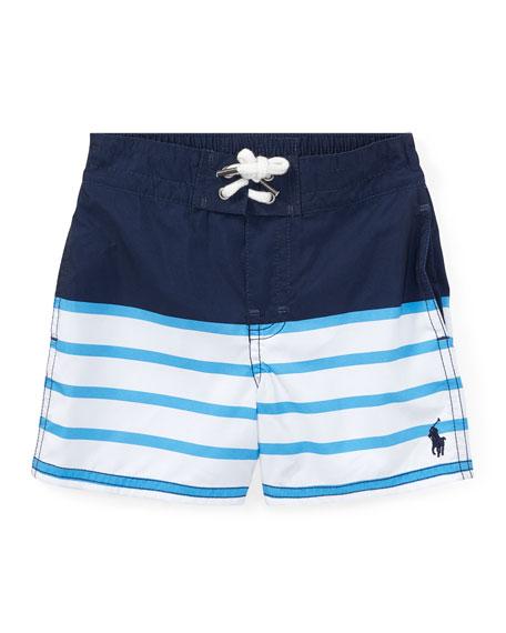 Ralph Lauren Childrenswear Sanibel Striped Swim Trunks, Blue,