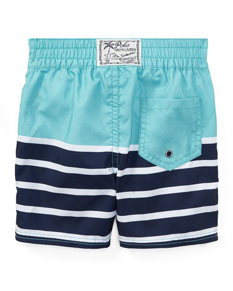 Sanibel Striped Swim Trunks, Green, Size 9-24 Months