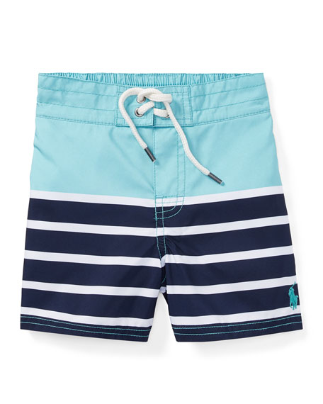 Ralph Lauren Childrenswear Sanibel Striped Swim Trunks, Green,
