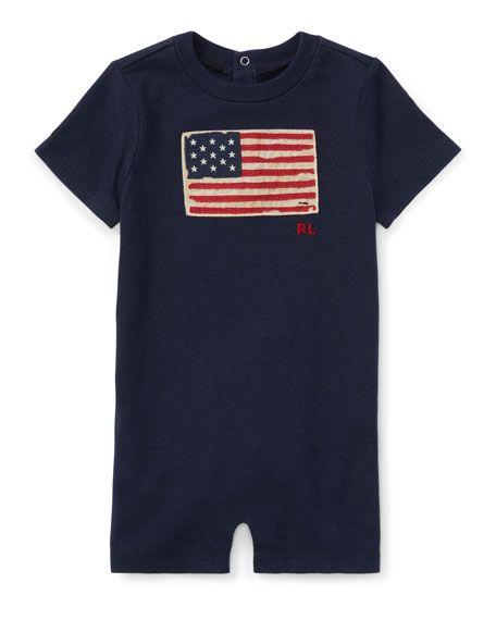 Basic Jersey Novelty Flag Logo Shortall, Blue, Size 3-18 Months