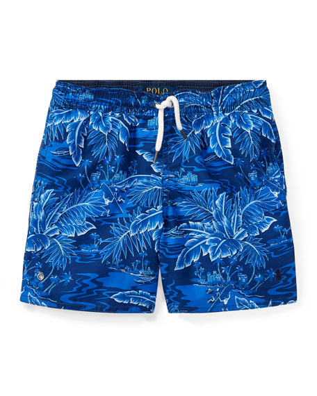 Ralph Lauren Childrenswear Printed Captiva Swim Trunks, Blue,