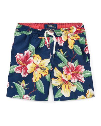 Captiva Floral-Print Swim Trunks, Blue, Size 2-4