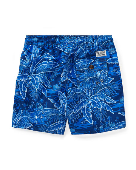Printed Captiva Swim Trunks, Blue, Size 5-7