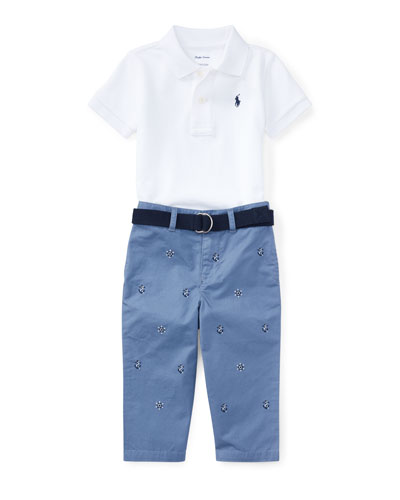 Cotton Polo w/ Embroidered Pants & Belt, Size 6-24 Months