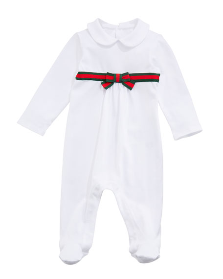 Gucci Long-Sleeve Web-Trim Footie Pajamas, Size 0-9 Months