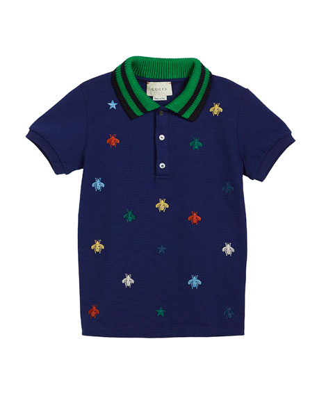 Gucci Bee-Embroidery Polo w/ Knit Collar, Size 12-36