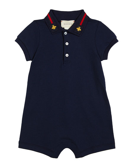 Gucci Web-Trim Polo Shortall, Size 3-18 Months