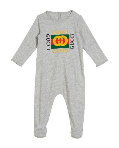 Long-Sleeve Vintage Logo Footie Pajamas, Size 0-9 Months