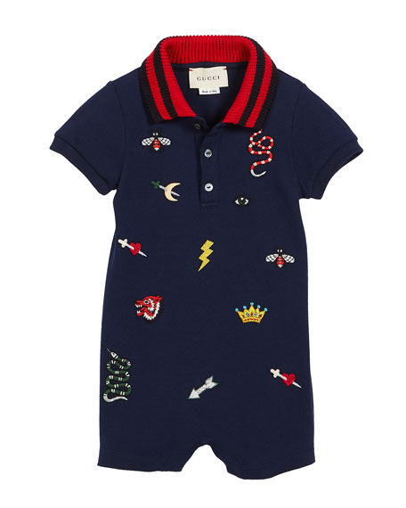 Short-Sleeve Icon Embroidery Polo Shortall w/ Knit Collar, Size 3-24 Months