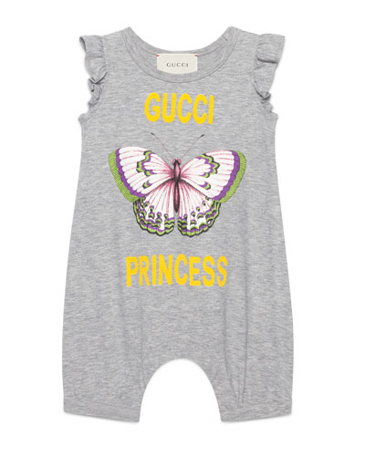Gucci Princess Ruffle-Sleeve Romper, Size 3-24 Months