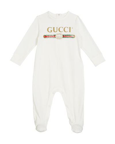 Long-Sleeve Logo Footie Pajamas, Size 0-9 Months