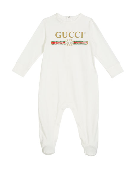 Gucci Long-Sleeve Logo Footie Pajamas, Size 0-9 Months