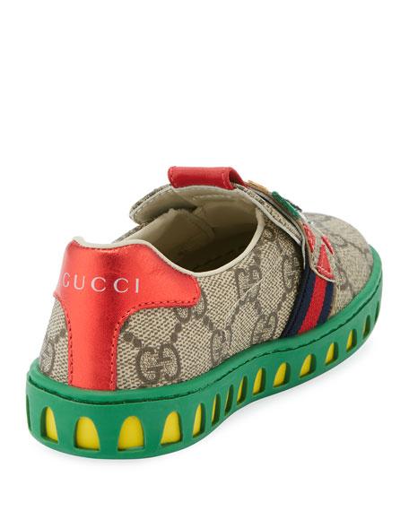 GG Supreme Canvas Sneaker w/ Tiger Face, Toddler