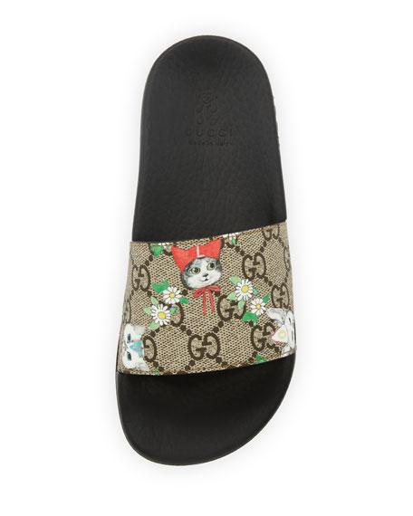 Pursuit Cat-Print GG Supreme Slide Sandals, Toddler/Kid